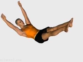 The double leg stretch. Pilates routine recommended for :  beginners,  intermediate,  experts.